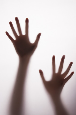 blurred silhouette hands. Stock Photo