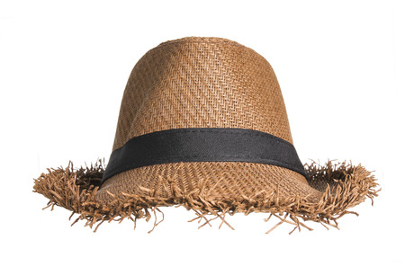 chapeau de paille: Chapeau de paille brun isolé sur fond blanc. Banque d'images