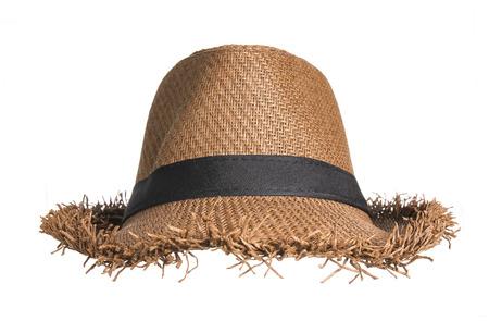hombre con sombrero: Marrón sombrero de paja aislado sobre fondo blanco. Foto de archivo