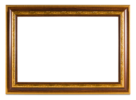 filagree: Vintage Golden frame with empty space isolated on white background. Include clipping path. Stock Photo