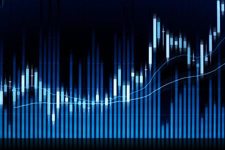 화면에 주식 시장 촛불 그래프 분석. 스톡 콘텐츠