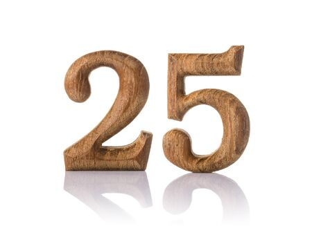 twenty five: wooden numeric with shadow isolated on white background, number twenty five,25.
