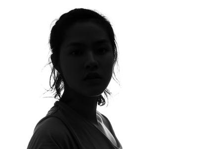 perfil de mujer rostro: Persona femenina silueta