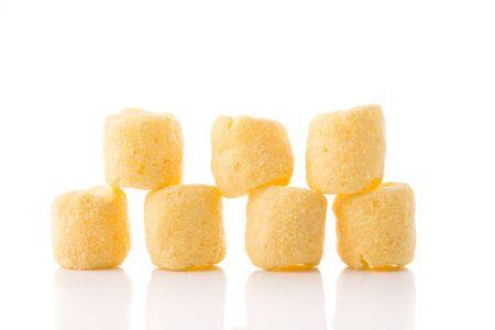 crunchy: Crunchy corn snacks isolated on white background. Stock Photo