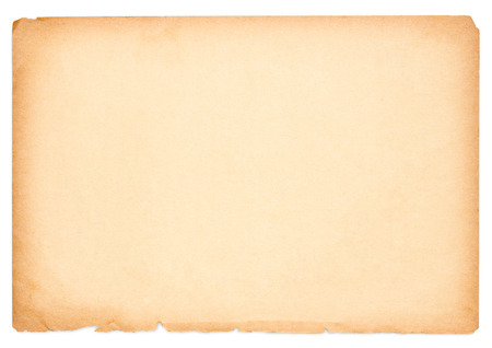 sheet of old paper isolated on a white background.