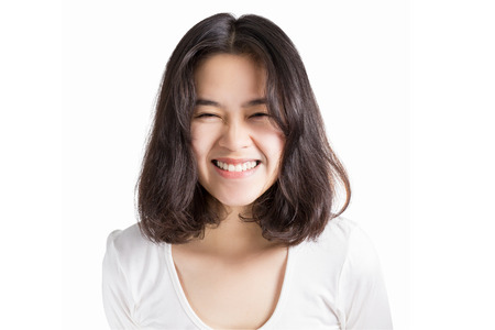 asia: Young Asia woman with smiley face isolated on white background.
