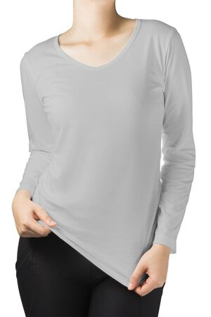 long sleeves: woman body in grey long sleeves t-shirt isolated on white background.