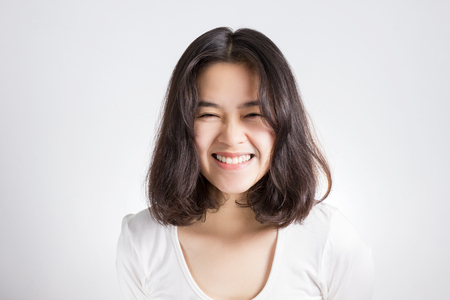 Young Asia woman with smiley face.