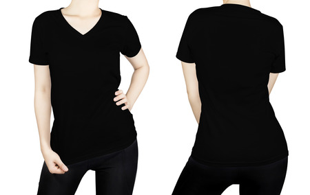 Black T - shirt on woman body with front and back side isolated on white background.