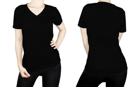 Zwart T - shirt op vrouw lichaam met voor- en achterkant op een witte achtergrond.