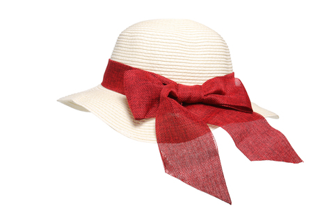 red hat: woman straw hat with red bow isolated on white background.
