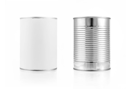 Close-up various metal and white tin can on white background separated shot.