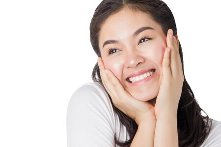 asia smile: Young Asia cheerful woman with smiley face isolated on white background. Stock Photo