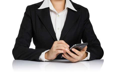 stylus pen: Business secretary woman writing on smart phone with stylus pen isolated on white background.