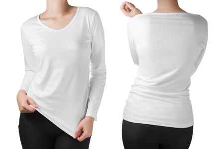긴 소매 t 셔츠 앞 흰색과 뒷면에서 여자의 몸은 흰색에 격리입니다.