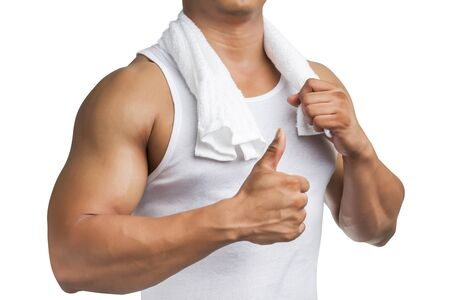 muscle shirt: Muscle man body with tank top shirt and towel, thumb up isolated on white background. Stock Photo