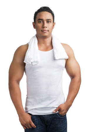 white singlet: Young Asian strong man with singlet and towel on his shoulder isolated on white background.