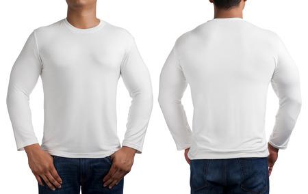 corpo umano: corpo uomo in bianco a maniche lunghe t-shirt isolato su sfondo bianco, anteriore e posteriore.
