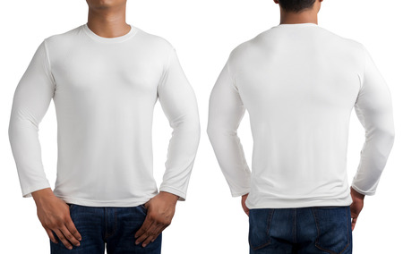 tshirt: man body in white long sleeves t-shirt isolated on white background, front and back.