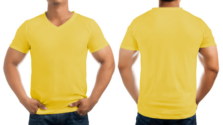 Yellow casual t-shirt on men's body isolated on white background, front and back.