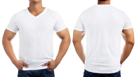 in men's shirt: White casual t-shirt on mens body isolated on white background, front and back. Stock Photo