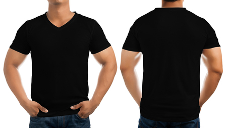 Black casual t-shirt on men's body isolated on white background, front and back. Archivio Fotografico