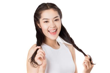 Schoonheid van de jonge Aziatische vrouw met een gezonde huid zorgconcept.