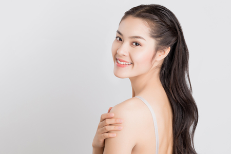 Young beauty Asian woman with healthy skin care concept. Stock Photo