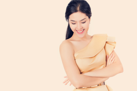 Young beauty Asian woman with healthy and skin care concept, isolated happy smiley face women.