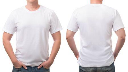 bliska bawełniana koszulka mężczyzna wzór na białym tle. Zdjęcie Seryjne
