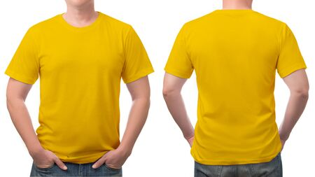 close up yellow t-shirt cotton man pattern isolated on white background.