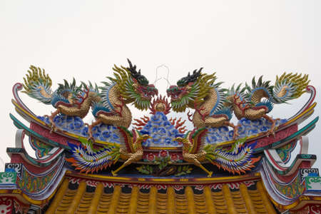 twin dragon statues