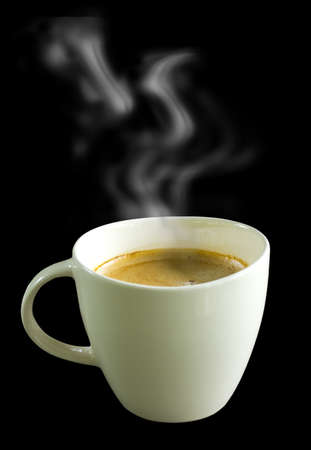 coffee cup with smoke isolated black background Stock Photo