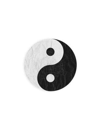 Yin-Yang symbol, create from paper craft. Stock Photo