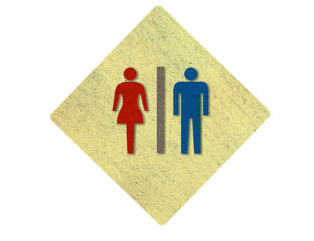 male and female sign made from recycle paper