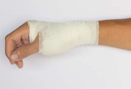broken hand in cast isolated on white background Stock Photo - 11589926