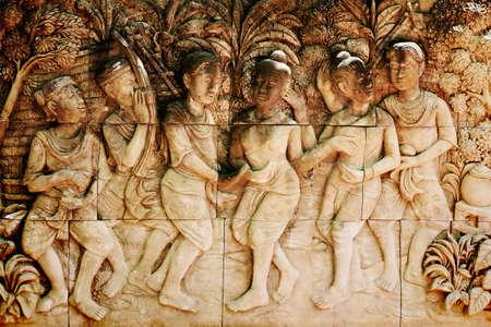 bas relief: Faible artisanat gr�s soulagement de la population tha�landaise Banque d'images