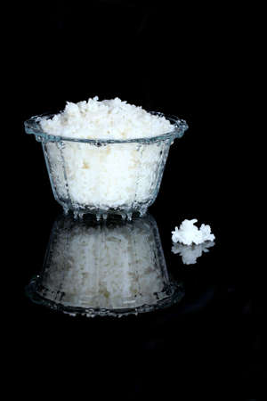 Glass bowl of cooked rice