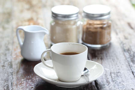 continental: cup of coffee on the table Stock Photo