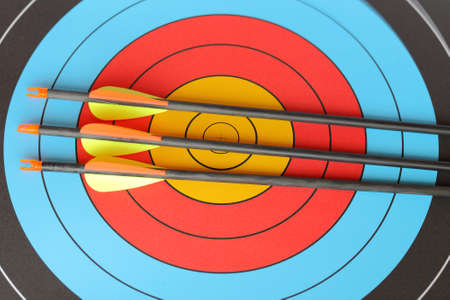 arrows focus to archery target Stock Photo