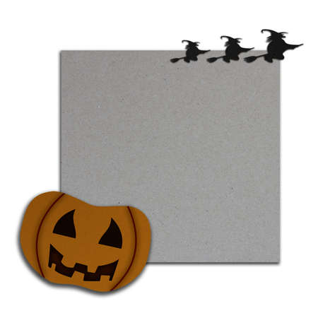 Halloween pumpkin on the fence with pinned aged paper Stock Photo - 17969563