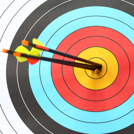 bows: arrows focus to archery target Stock Photo