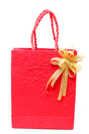 Red bag forNew Year on white background Stock Photo