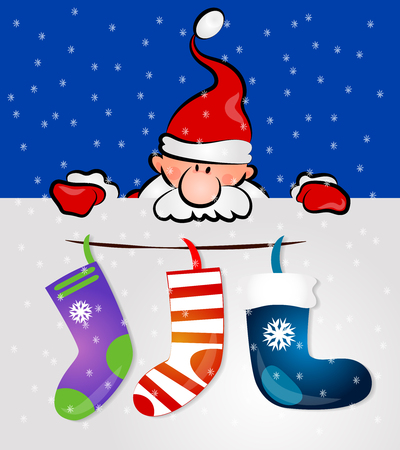 christmas gifts: Santa with gifts and socks, Christmas Card