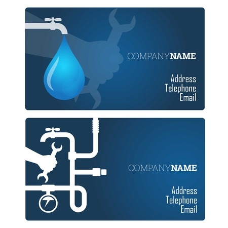 Plumbing repair business card, vector Stock Illustratie