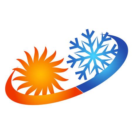 換気とエアコンの太陽とスノーフレークの抽象的なシンボル