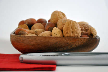 Mixed nuts with shells photo