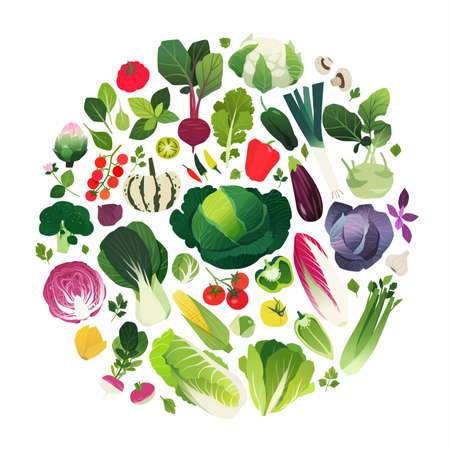 kale: Clip art set of vegetables and herbs in a round shape vector illustration.