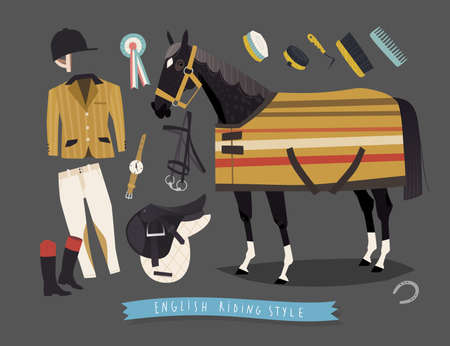 stirrup: English horse riding clothing, grooming tools and riding essentials Illustration