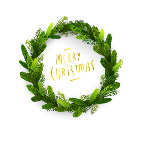 Christmas fir tree wreath intro for winter holidays